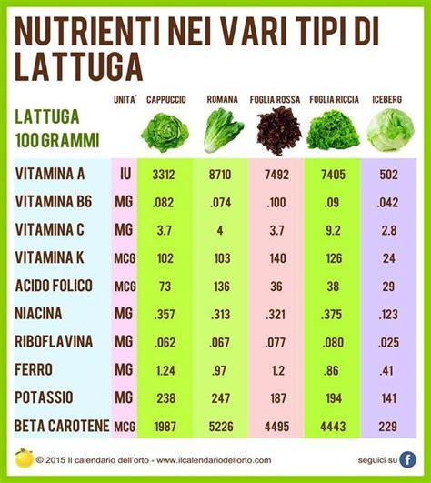 vari tipi di alimentazione nutrienti nei vari tipi di lattuga alimentazione