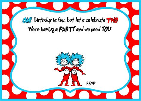 Free Printable Dr Seuss 1st Birthday Invitation Template Free Invitation Templates Drevio Thing 1 Editable Template