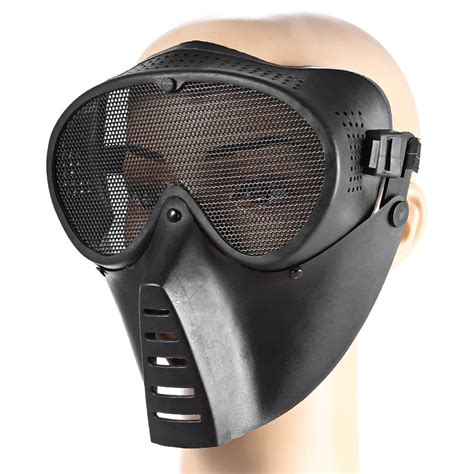 Masker Wajah Black Mask tactical real field operations mask black mask periscope eye protection
