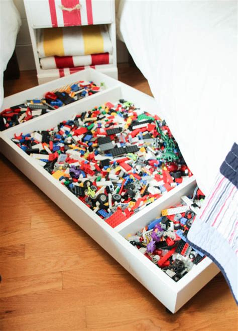 toys in the bedroom dads round table diy under bed rolling lego storage cart the happy housie