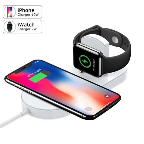 2 in 1 qi fast wireless charging pad wireless charger for apple series 4 3 2 1 galaxy