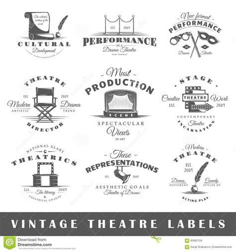 design elements in theatre set of vintage theatre labels stock vector image 65682194