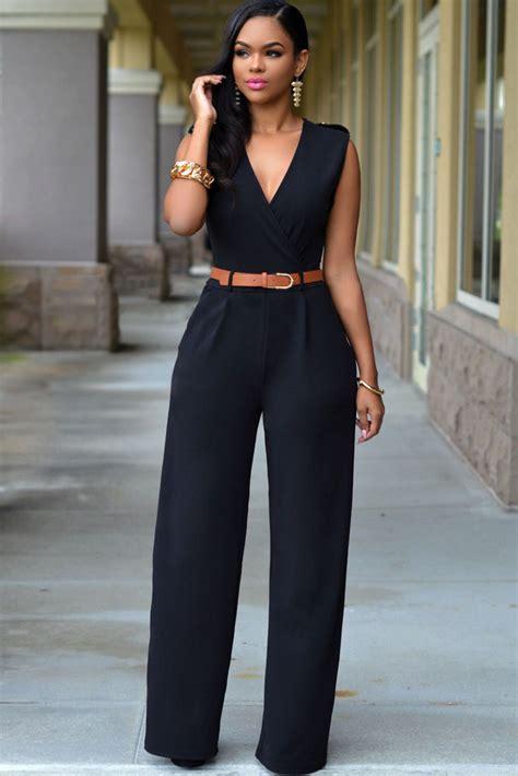 Embellished V Neck Jumpsuit black v neck jumpsuit charming wear