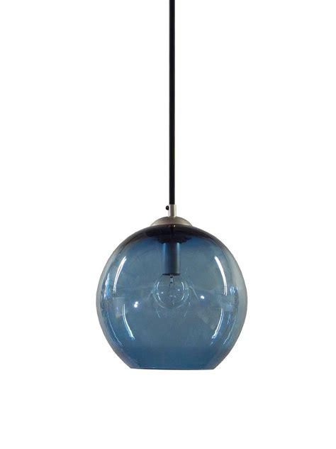 Glass Blown Pendant Lighting Buy A Custom Steel Blue Gumball Blown Glass Pendant Lighting Glass Pendant Lights