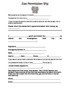 Permission Letter To Visit A Zoo 25 Best Ideas About Field Trip Permission Slip On Ece School Teaching