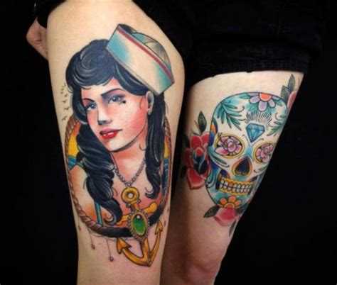 tattoo old school mujer tatuaje new school old school cr 225 neo mujer marinero muslo