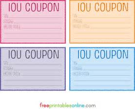 printable coupon gift template colorful free printable iou coupons diy pinterest