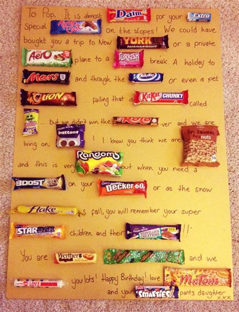 chocolate bar birthday card for my dad home made gift