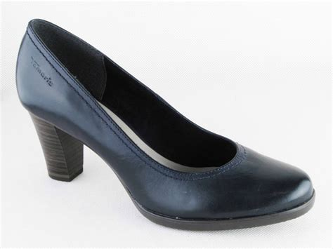womens tamaris navy leather court shoes heels work