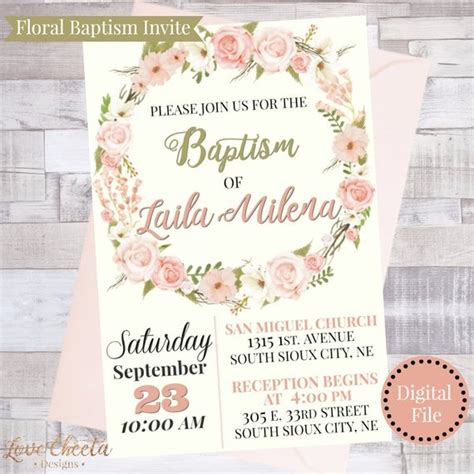 floral baptism invitation for christening invite