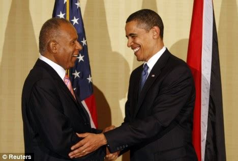 Mr obama meets with trinidad and tobago prime minister patrick manning