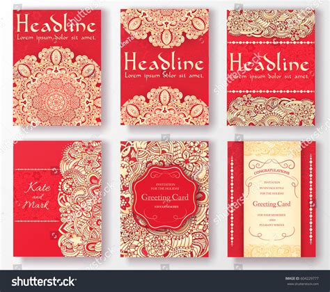 what elements defined ottoman art set flyer pages ornament illustration concept stock vector