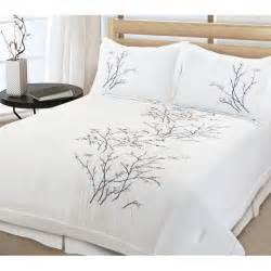 Tree Bedding Set Beautiful 3 Pc White Tree Bird Leaf Modern Quilt Comforter
