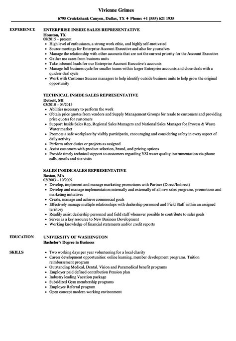 sales inside sales representative resume sles velvet jobs