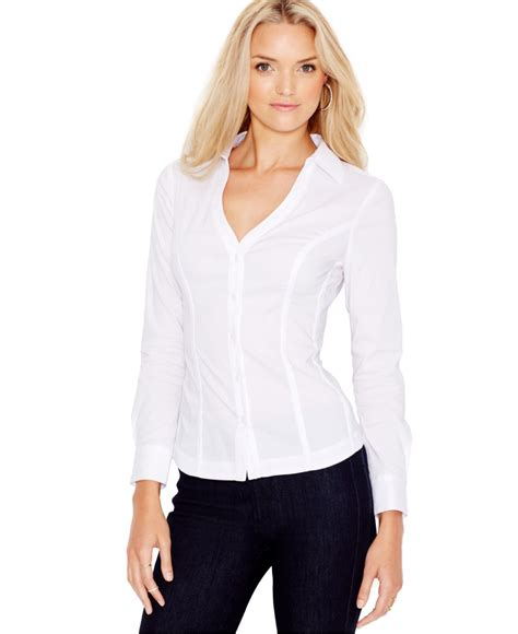 sleeve lace up shirt guess sleeve lace up shirt in white true white lyst