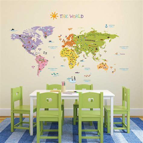 wandtattoo kinderzimmer welt wandsticker landkarte weltmeere wandsticker kinderzimmer