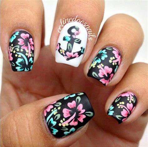 tropical flower nautical nail art nail art ideas
