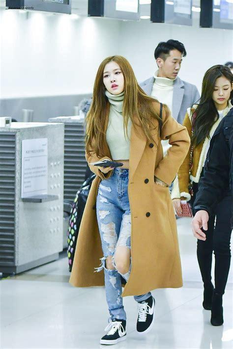 blackpink fashion airport rose blackpink airport fashion fashionnn pinterest