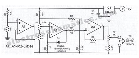 digital temperature sensor circuit diagram diode digital thermometer circuit