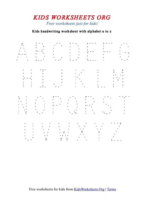 printable handwriting worksheets a z kids handwriting worksheets a z uppercase kids