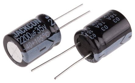 lhk series electrolytic capacitor rs pro aluminium electrolytic capacitor 2200μf 35v dc 16mm through rs series 105 176 c
