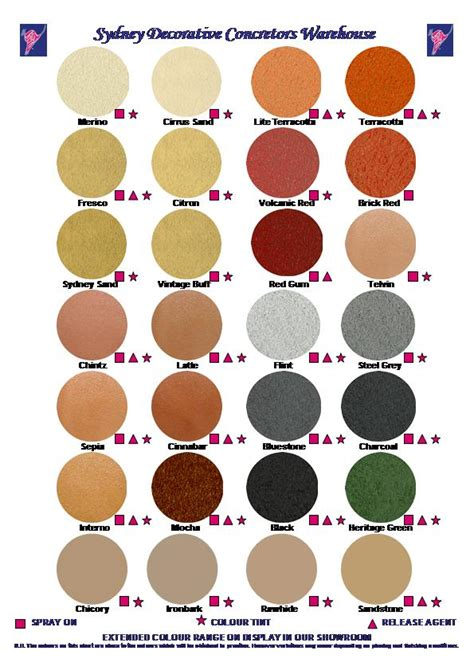 what colors do you mix to make gold colour chart 121026 sydney decorative concretors warehouse