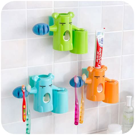 bathroom toothbrush holder set automatic toothpaste dispenser kids bear baby toothbrush holder colorful bathroom set