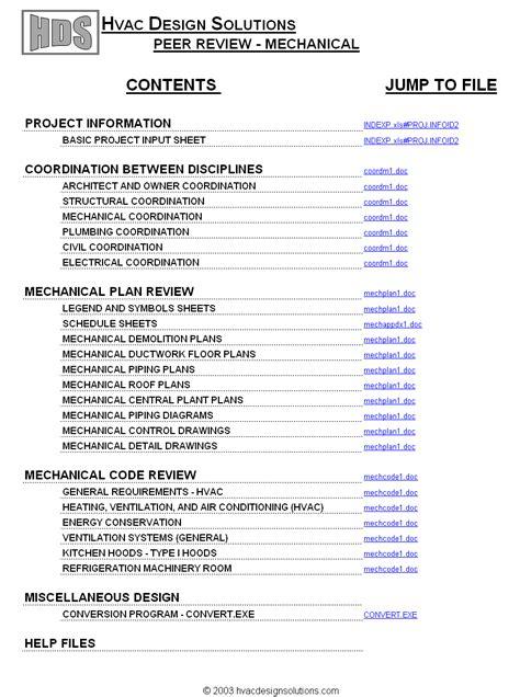 Hvac Design Solutions Mechanical Peer Review Mechanical Design Review Checklist Template