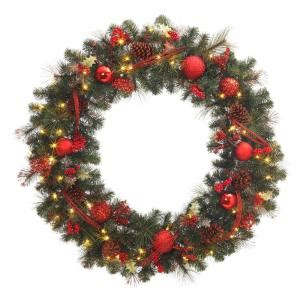 60 inch lighted outdoor christmas wreath 48 in battery operated accented artificial wreath with 60 clear led lights 2258650hd the