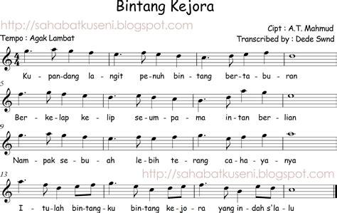 not angka lagu anak anak bintang kecil not angka lagu terbaru not balok lagu anak anak indonesia bintang kejora a t