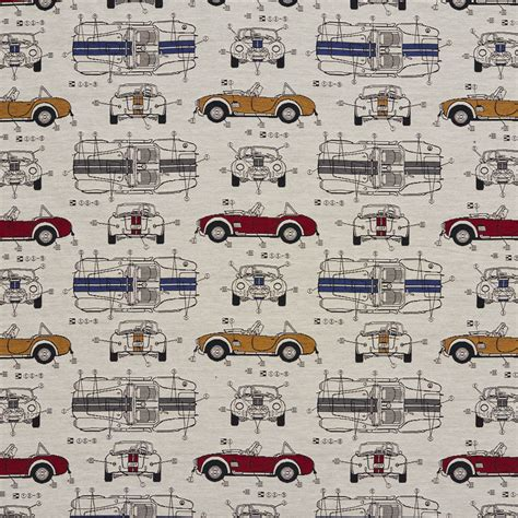 Classic Car Upholstery Fabric by Automobile Vintage Race Car Classic Pattern Damask