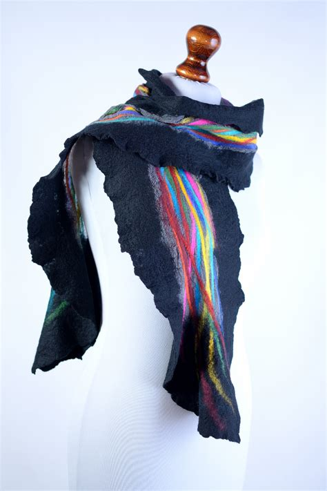 black nuno felt scarf for with colorful stripes