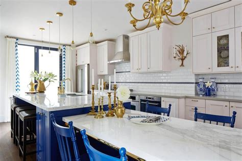 regal kitchen  royal blue gold interiors  color