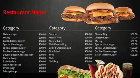 burger menu template template gallery