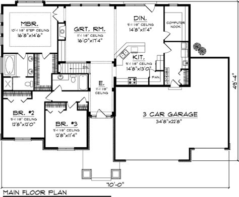 3 bedroom ranch house floor plans house plan 73140 at familyhomeplans