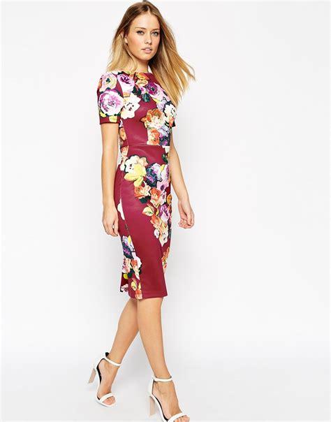Scuba Dress Floral lyst asos floral print scuba bodycon dress in