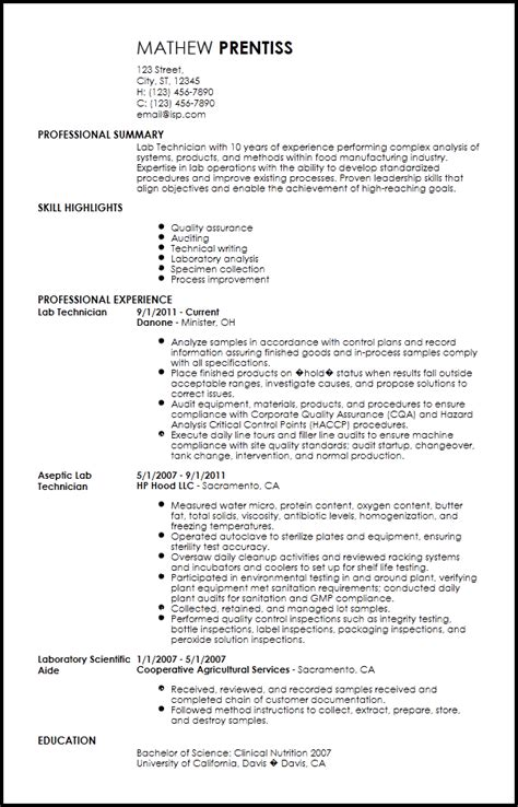 lab technician resume format free free professional lab technician resume template resumenow