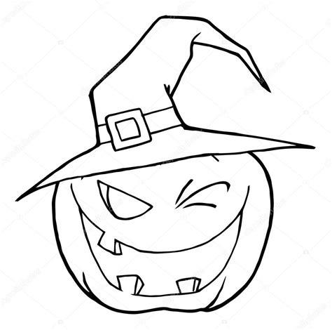 jack o lantern wearing a witch hat winking stock photo