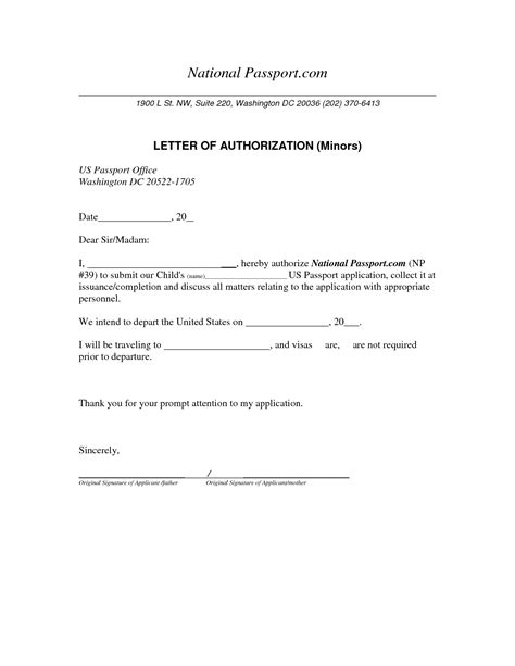 passport authorization letter for child sle letter of authorization for minor passport 28 images