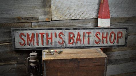Handmade Wood Signs Rustic - custom bait shop sign rustic made vintage wooden