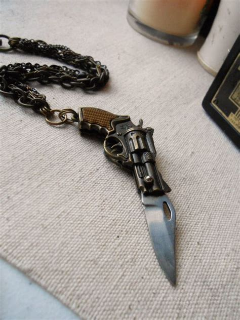 bracelet knife vintage chunky gun pocket knife bracelet badass unisex