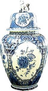 large blue white delft vase royal sphinx boch