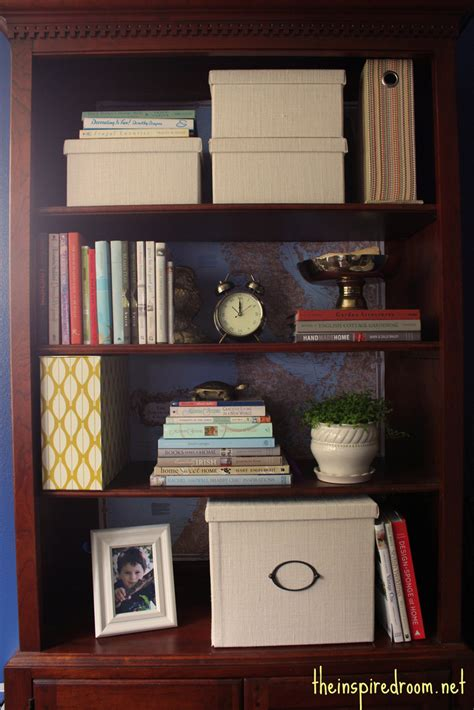 decorate office shelves lighten up a dark bookcase without paint home office