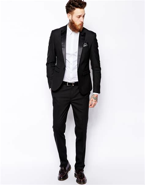 Slim Fit asos slim tuxedo suit jacket in black for lyst