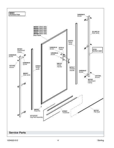 Sterling 5900 Shower Door Parts Service Parts Sterling Plumbing Pivot Shower Doors 950c Series User Manual Page 4 12