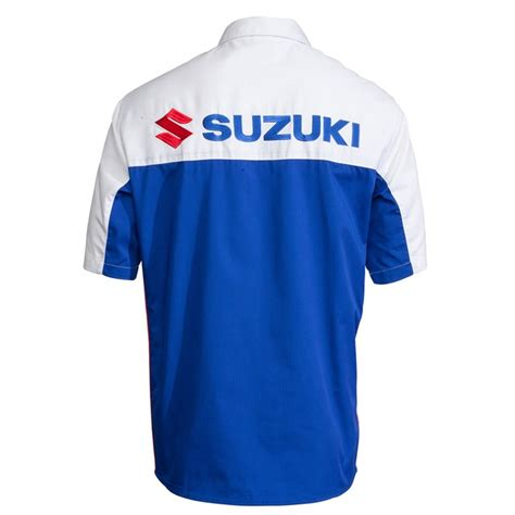 Suzuki Apparel Catalog Blue White Pit Shirt Babbitts Yamaha Partshouse