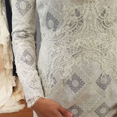 Baju Nikah Lace Silver songket beaded lace he proposed she said yes lace wedding