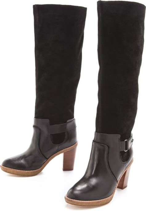 two toned boots kors by michael kors two tone boots in black lyst