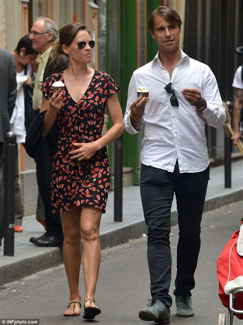 hilary swank paris home hilary swank enjoys a cold dessert with her french