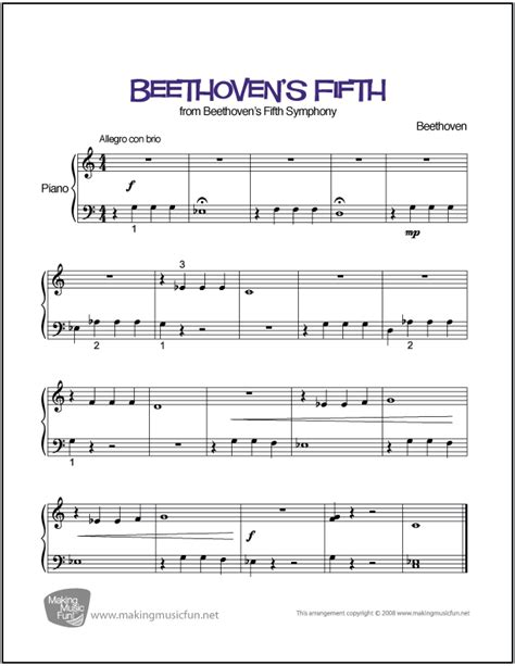 printable piano sheet music no download free beethoven s fifth symphony no 5 in c minor easy piano